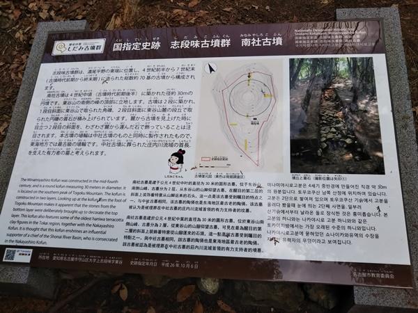 東谷山フルーツパークの散策路の古墳について